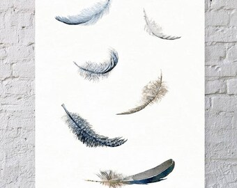 Limited edition print. Feather wall art. Scandinavian art. Woodland painting. Affiche Scandinave. Feather art print from original painting.