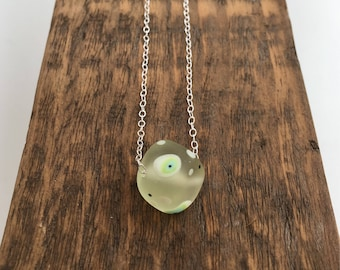 Lampwork charm bead necklace, spotty lime green handmade lampwork glass, unique gift, sister gift, girlfriend gift, gift for a friend