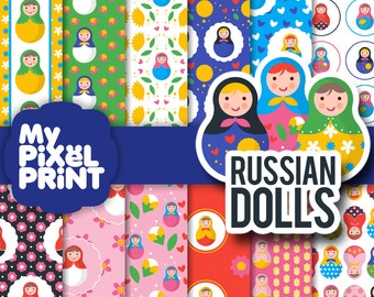 Russian Dolls - Matryoshka Dolls Russian Nesting Dolls Russia Pattern Flowers Hearts Toys - Digital Scrapbooking Paper Pack - My Pixel Print