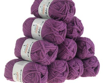 10 x 50g wool CHIMERA #427 purple, wool for knitted felt