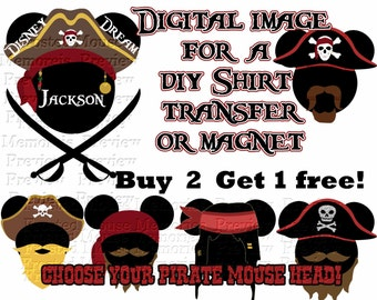 Printable Pirate Mouse Head Shirt Transfer or Magnet Disney Cruise Shirt Pirate Shirt Personalized Cruise Door Magnet
