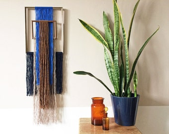 macrame wall hanging with picture frames | geometric tapestry | blue brown and taupe yarn | colorful textile art | boho interior | yarnfall