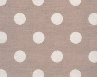 Tissu enduit, Toile cirée coton, rose ancien motif gros pois blanc pour confection de nappe