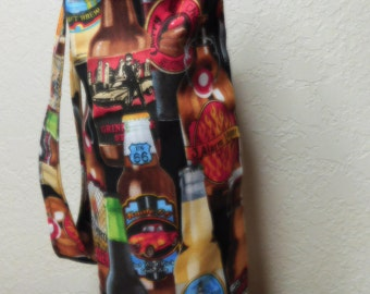Beer Bottles Wine Totes, Beautiful Novelty Wine Carry / Gift Bags, Market Bags Beer fabric print