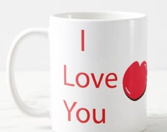 cute cartoon I love you + name mug