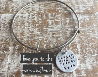 Valentine's gift -  - I love you to the moon and back - Mantra bracelet - Gift for her - best friend jewelry - Inspirational