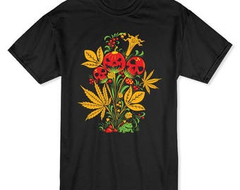 Psychedelic Pumpkin And Skulls Halloween  Plant Men's Black T-shirt
