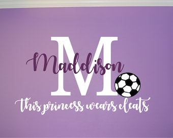 Soccer Name & Initial Princess Wall Decal - Soccer Princess Wall Decal - Sports Decal - Personalized Soccer Wall Decal - Girls Teen Decal