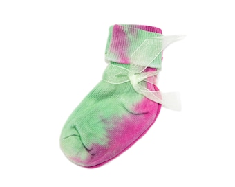 Watermelon Baby Socks, Hand Dyed Cotton Green and Pink Baby Socks, Made in UK - Unique Baby Gift, Tie Dye Baby Clothes Watermelon Socks