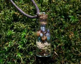 Mossy Crystal Bottle Terrarium Necklace