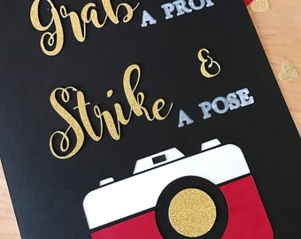 Red and Gold Grab A Prop and Strike A Pose Photo Booth Prop Sign Decorations