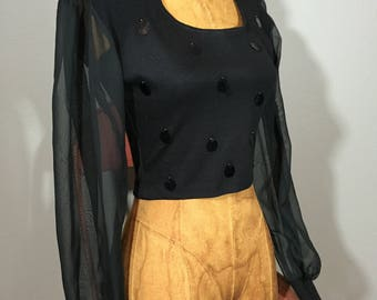 Vintage 90 ' s pure manches col haut Cropped Top Goth Glam S