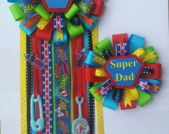 SuperMom Corsage with matching SuperDad Dad pin
