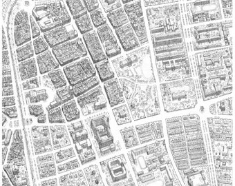 Historic Taipei; Pictorial Birds-Eye Map. Depicts Pre-WW2 city; hand-drawn from archival photographs. Giclee fine art print.