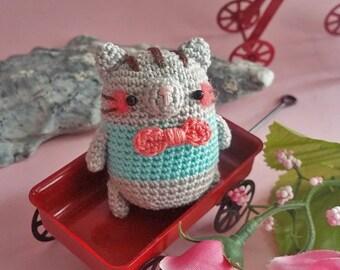 Amigurumi Mini Grey Kitty Cat with Ribbon *Made2Order*