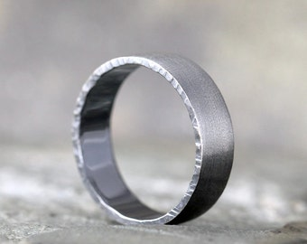 Men's Wedding Band - Sterling Silver Brushed Finish - Hammered Edge - Oxidized Patina - Commitment Rings - Friendship Band - Unisex Design