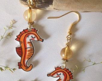 """Océanopolis"" Seahorse earrings"