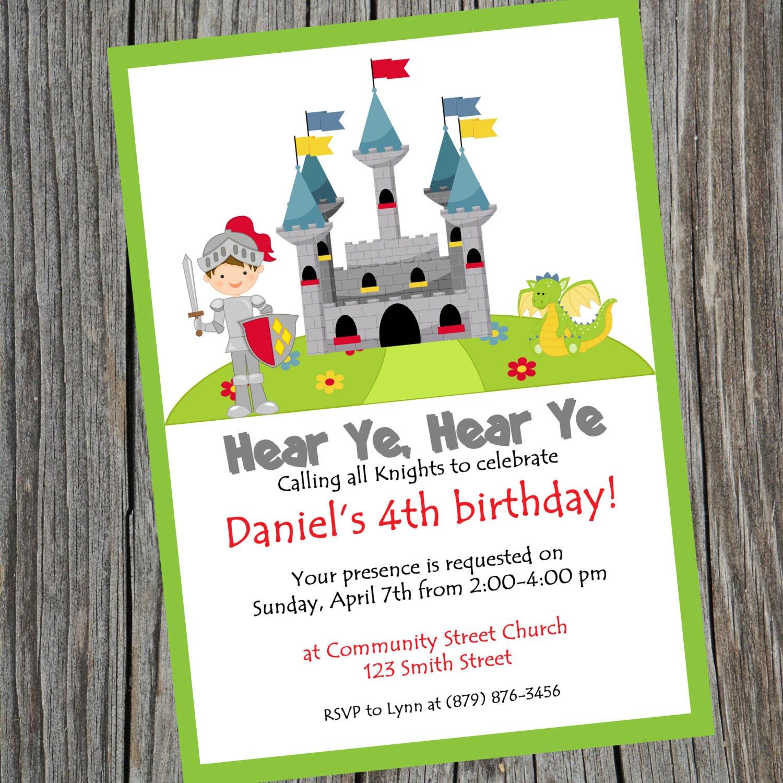 Knight Party Birthday Invitation. Printable Knight theme