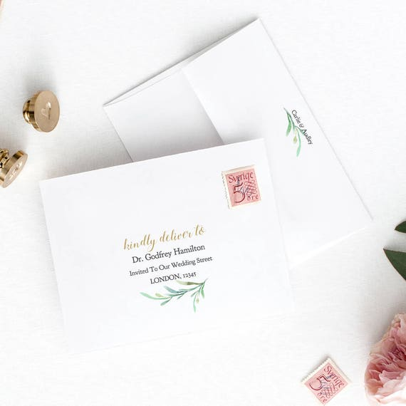 Envelope Addressing Envelope Template Diy Greenery Front