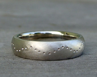 5mm Wide Comfort-Fit Wedding Band - Recycled 14k White Gold, Wave Patterned, Matte/Brushed, Eco-Friendly, Ethical, Made to Order