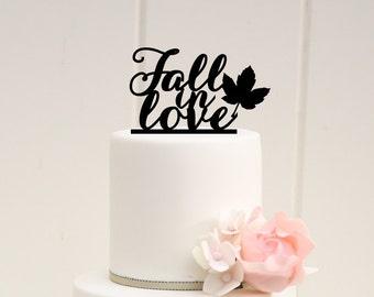 Fall Wedding Cake Topper - Fall in Love Cake Topper - Fall Wedding - Autumn Wedding - 0033