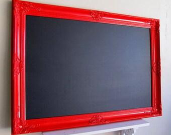 LARGE MAGNETIC CHALKBOARD Framed Blackboard Red Kitchen Chalkboard Modern Kitchen Message Center Black Board Kids Artwork Magnet Board