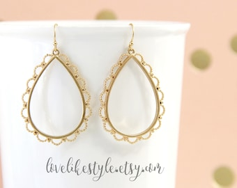 Matte Gold Laced Tear Drop Earrings, Gold Filigree Earrings , Bridesmaid Earrings, Bridal Shower Gift-2028