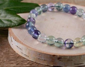 FLUORITE Power Bracelet - Fluorite Bracelet, Fluorite Jewelry, Rainbow Fluorite, Fluorite Stone, Natural Fluorite E0594