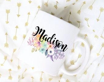 Custom Name Coffee Mug, Watercolor Floral Coffee Mug, Flower Bouquet, Sublimation Mug, Floral Bouquet Coffee Mug
