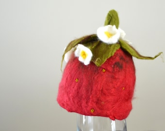 Felted Strawberry Hat or Bonnet; MADE TO ORDER; Petal Edge beanie; Straight edge beanie; pixie bonnet; Newborn photography prop