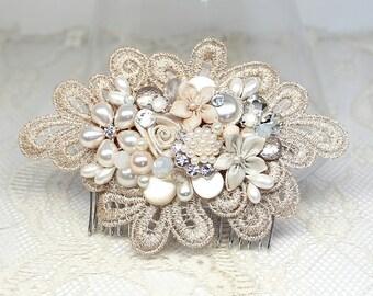 Champagne Bridal Comb- Blush Pink Comb- Bridal Hair Accessories- Blush Hair Comb- Blush Wedding Comb- Blush Bridal Comb- Champagne Hairpiece