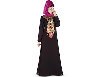 MyBatua Frauen Designer Abaya mit Dual Layer | traditionelle Maxi | ethnische islamische Burka | muslimisches langes Kleid AY-402