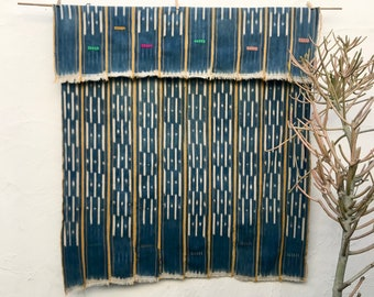 Vintage African Baule Cloth with Indigo and Yellow, Indigo Textile, Tribal textile, African Fabric, Hand woven cotton throw ethnic fabric 15