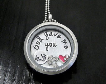 God gave me you  / Mommy Necklace  / Floating Locket / Hand Stamped Jewelry / Charm Locket