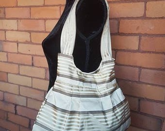 Gold, Brown and Beige Pleated Handbag