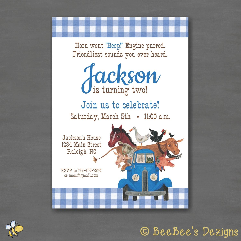 Little Blue Truck Birthday Party InvitationPrintable