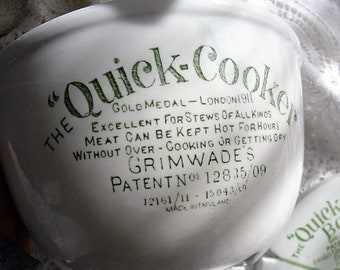 ANTIQUE English Green Text Quick Cooker Pudding Bowl Antique Advertising Cookware Grimwades Victorian Advertising kitchenalia Collectible