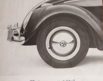 "VW Bug ad. 1963 VW Beetle ad.  1963 VW Bug ad.  1963 Volkswagen Beetle ad. Vintage Volkswagen Bug ad.  ""Why is our Nose Stubby?"""