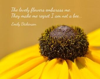 Emily Dickinson Zitat drucken, in Verlegenheit bringen die schönen Blumen me, Poesie-Poster, typografische Kunstdruck