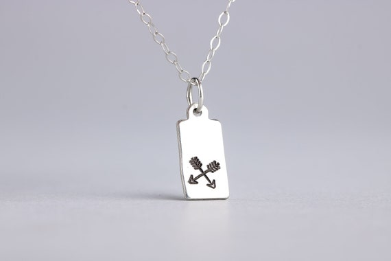 Crossed Arrows Charm Necklace in Sterling Silver - Friendship Necklace, Crossing Paths - Gift for Her - Bohemian Jewelry