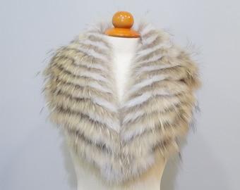 Real Fox Fur Large Collar,Scarfs fur,Wrap fur,Scarves fur,Silver Fox Fur,Woman Collar,Fur Collar,fur for Leather Jacket,real fur collar F116