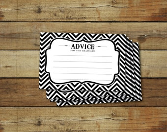 Graduation printable advice cards, instant download, black and white chevron