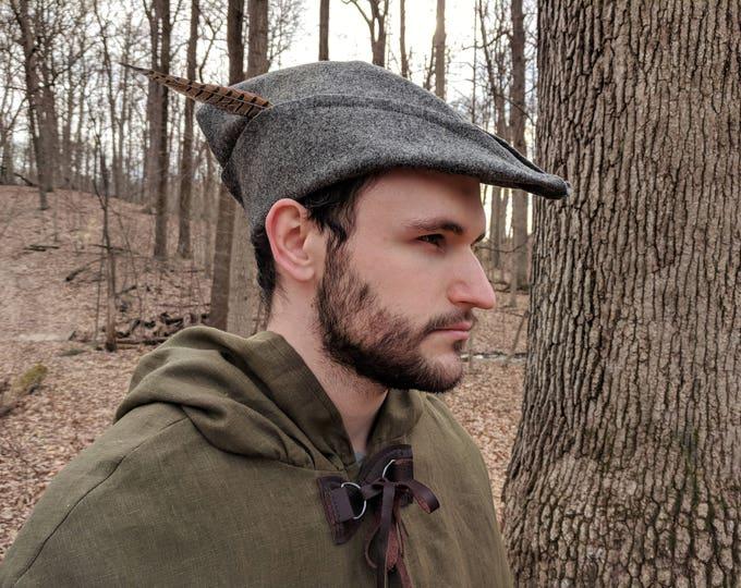 Medieval Robin Hood Hat, Woodsman - Gray Wool