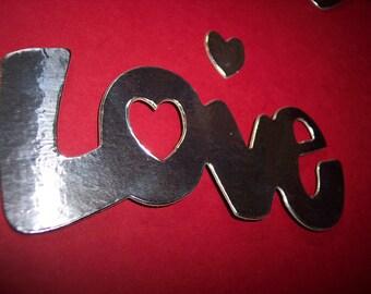 Love Die Cut Covered with Metal set of 3