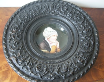 Porcelain Plate Portrait Embossed Brass Frame 1890 Hand painted Cabinet Plate
