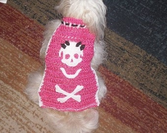 SPARKLE Skull - She's PUNK in PINK - dog sweater - 2 to 20 lb dogs