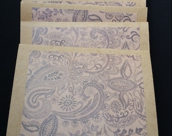 Brown Paisley Card Set of 6/Rustic/Thank You/Blank