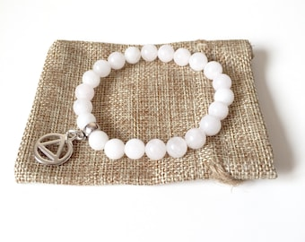 White Jade 12 Step Recovery Healing Bracelet to Help with Addiction Promote Positivity