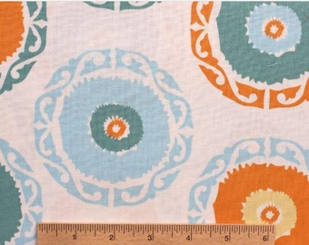 Annette Tatum fabric Bohemian Suzanie Round AT62 Orange blue white green circles sewing quilting free spirit 100% cotton fabric by the yard