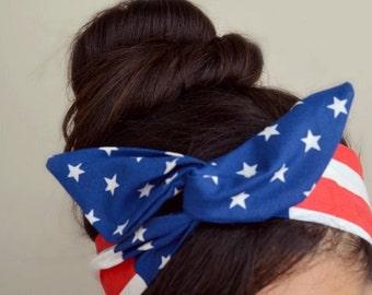 American flag headband, US flag Dolly bow head bands, American Flag head band, hair bow